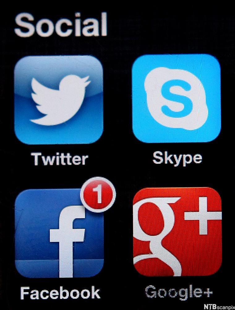Skjermbilde av mobilskjerm med apper av sosiale medier. Foto.