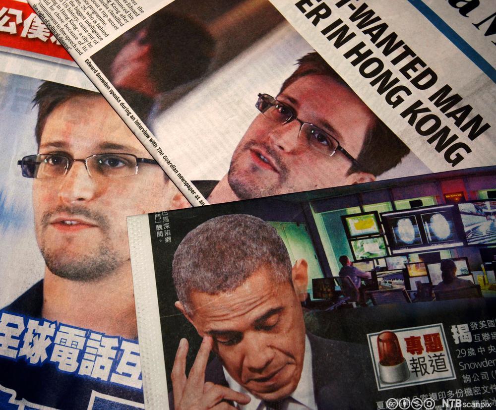 Avisforsider med bilder av Edward Snowden og president Obama. Foto.