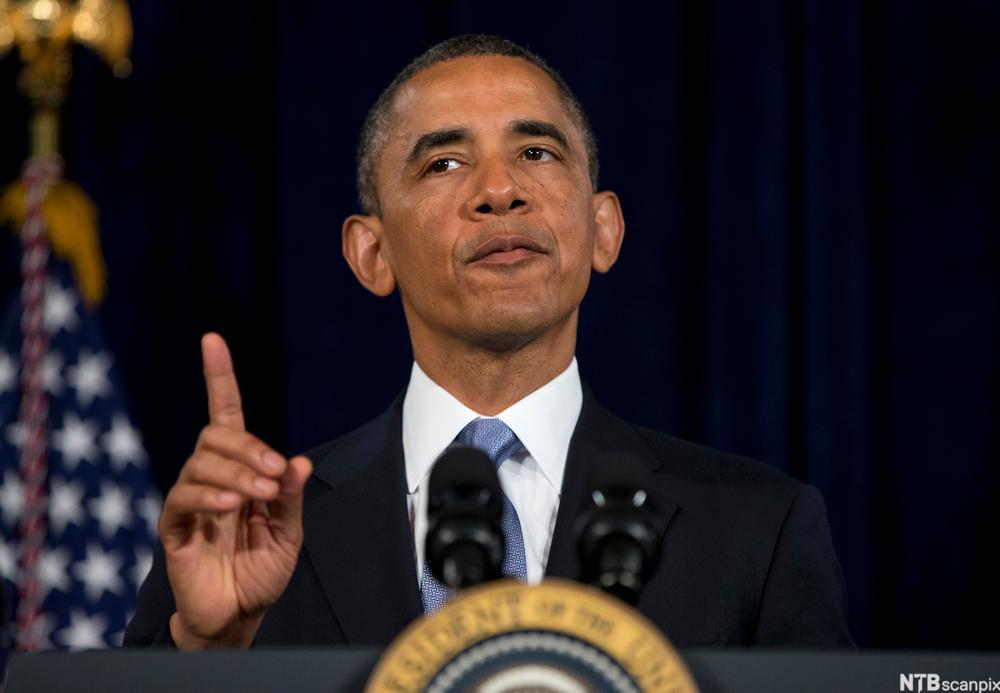 Den amerikanske presidenten Barack Obama hever pekefingeren