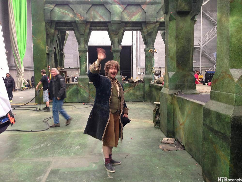 "Skuespiller Martin Freeman i rolla som Bilbo Baggins i filmen ""Hobbiten"". Foto."