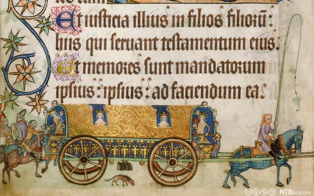 Kongelig vogn i middelalderen, fra den illustrerte salmeboka Luttrell Psalter. Illustrasjon.