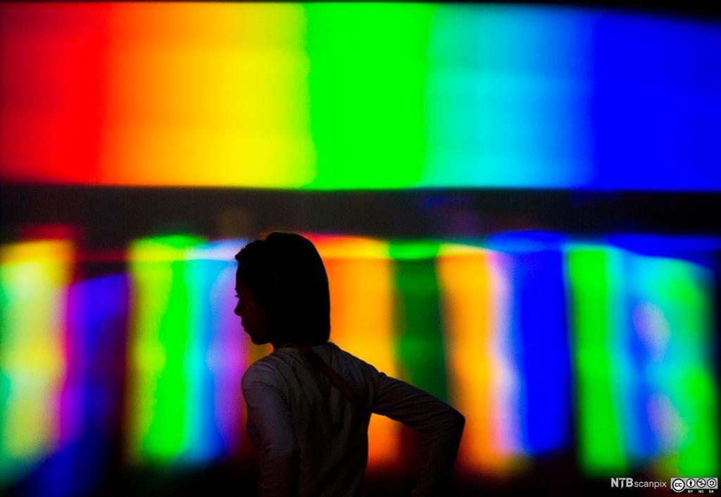 Silhuette foran en et lysfargespekter. Foto.