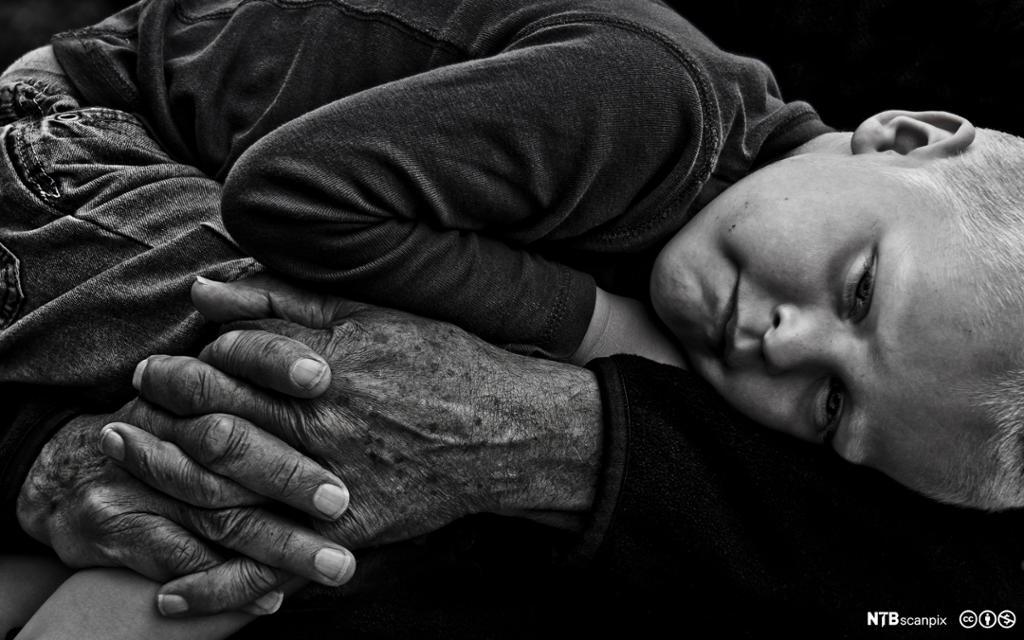 Liten gutt ligger og hviler i bestefar hender. Foto.