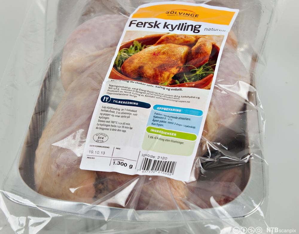 Merking av fersk kylling. Foto.
