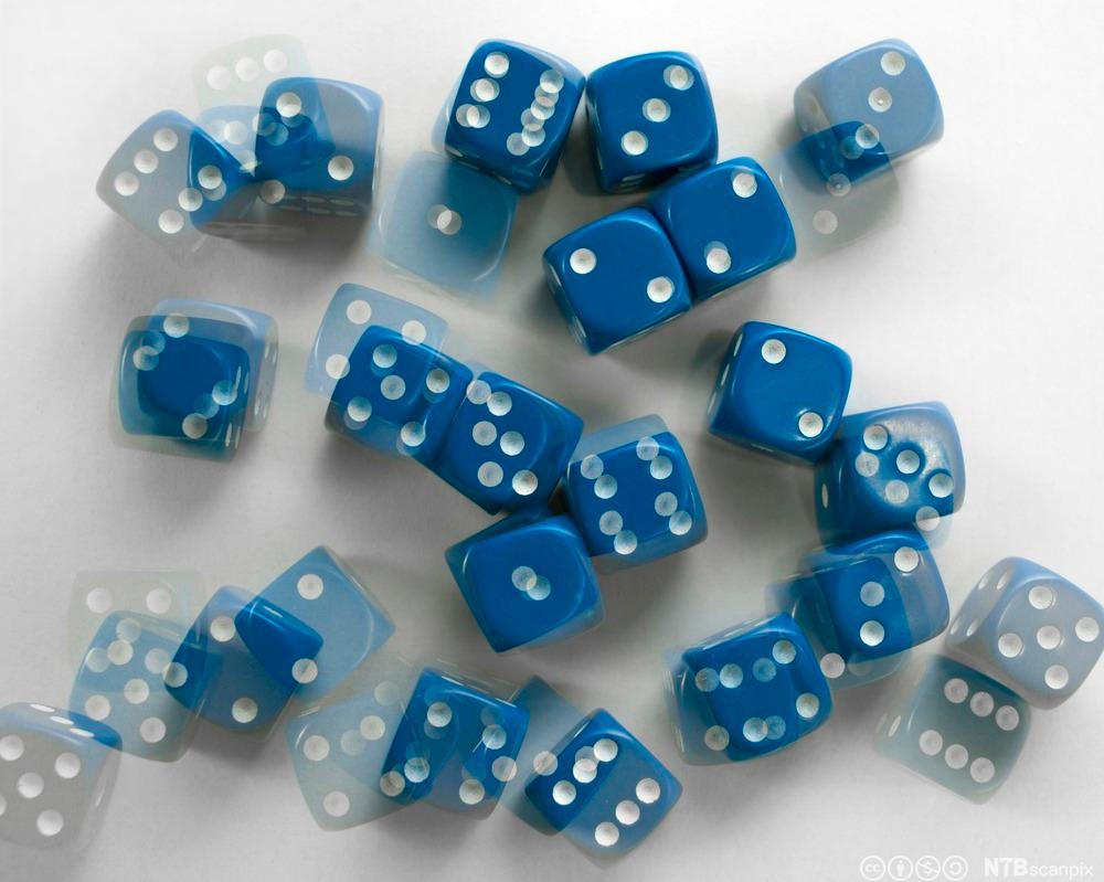 Blå terninger som er kastet. Foto.