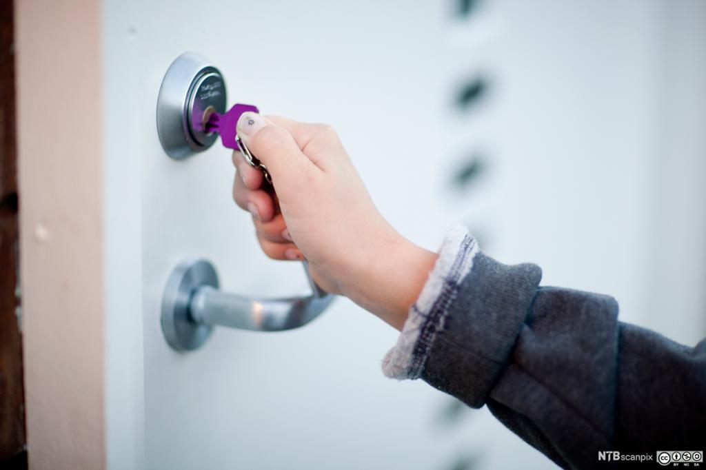 Husdør og lilla nøkkel. Foto.