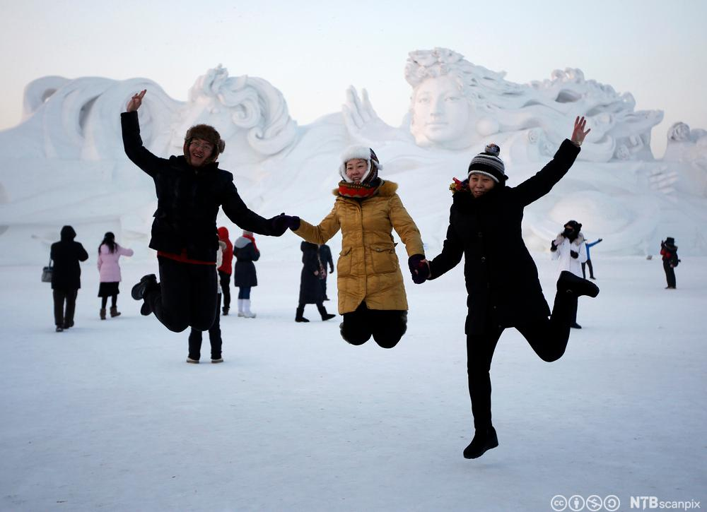 Snøskulptur i Harbin. Foto.