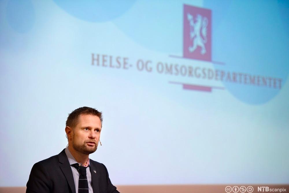 Helse- og omsorgsminister Bent Høie holder sin første sykehustale som statsråd på Rikshospitalet. Foto.