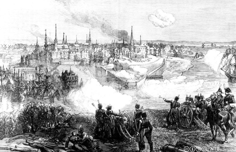 Britsike styrker angriper København. Illustrasjon.