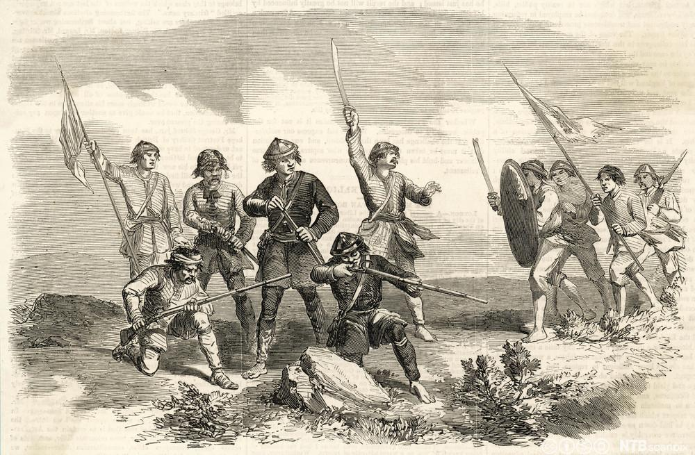 Opprørere fra Taiping sloss mot Qing-dynastiet i 1864. Maleri.