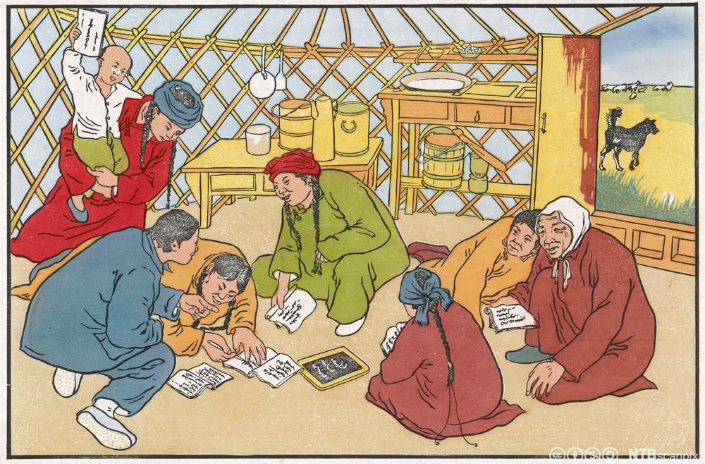 Kinesiske bønder får lese- og skriveopplæring. Illustrasjon.