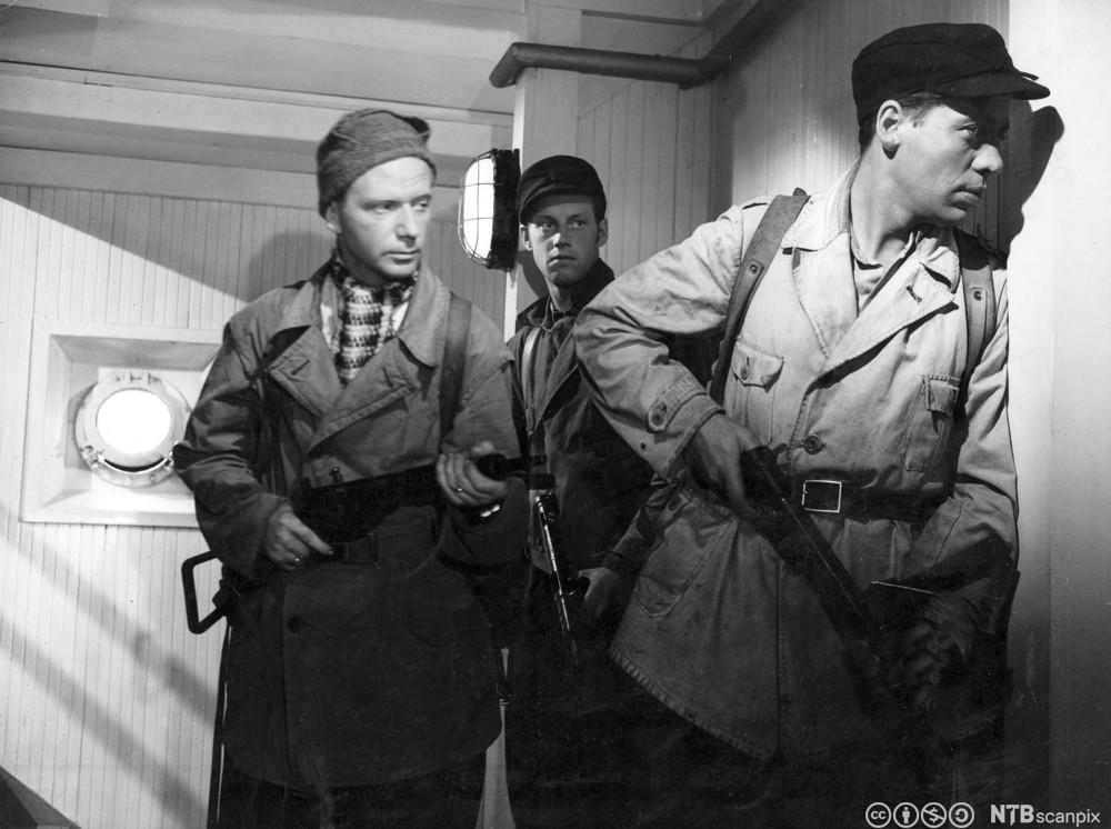Scene fra spillefilmen Kampen om tungtvannet fra 1948. Foto.