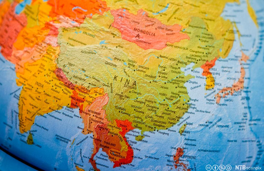 Kartutsnitt av Kina. Foto.