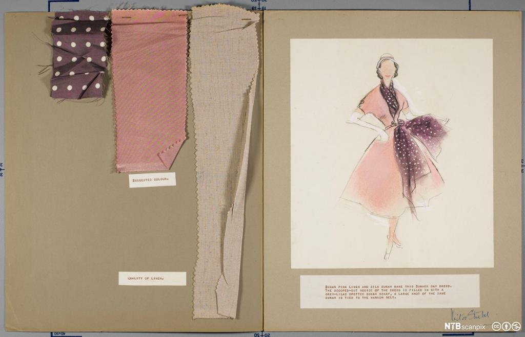 Designskisse og stoffprøver til kjole designet av Victor Stiebel. Foto.