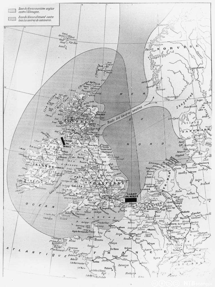 Kart som viser områder som tyske og britiske krigsskip blokkerte under 1. verdenskrig.
