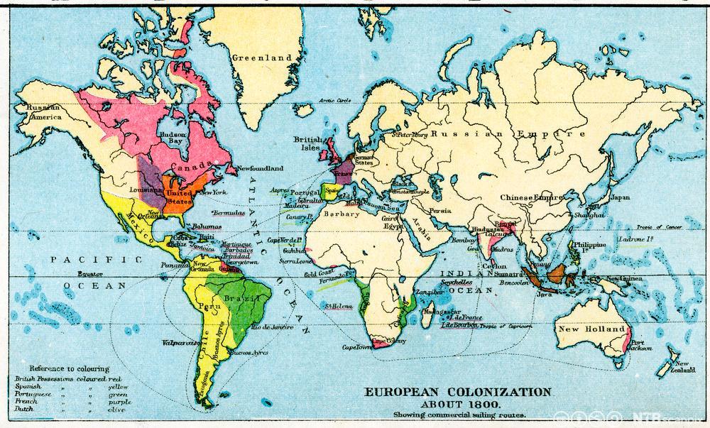 Verdenskart som viser med linjer og farger hvor europeiske kolonier befant seg rundt år 1800 og hvor handelsrutene gikk. Illustrasjon.