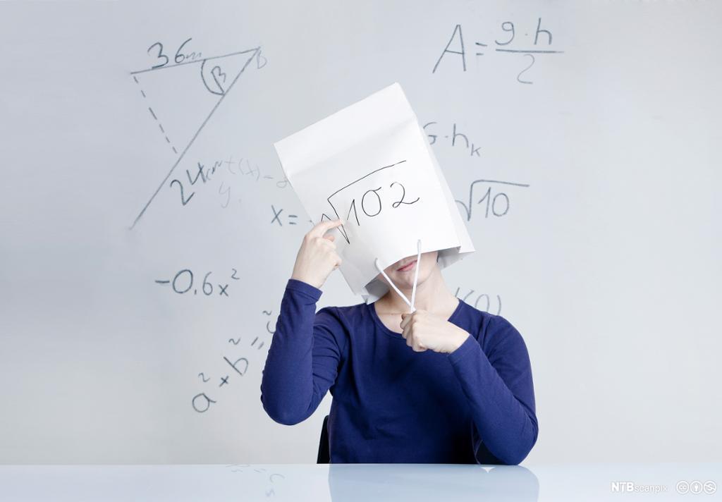 Frustrert elev med papirpose over hodet. Foto.