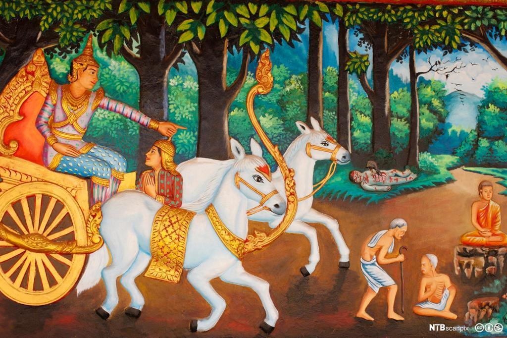 Mann i vogn med hvite hester ser en gammel, en syk en døende og en asket. Maleri.