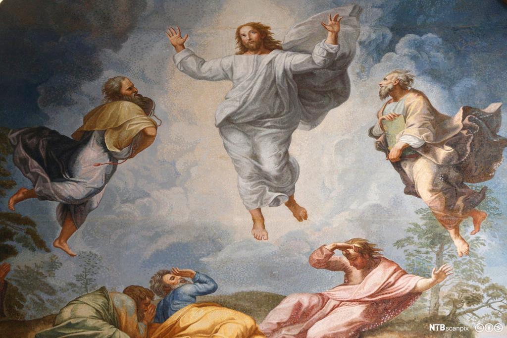 Jesus i hvit kjortel stiger mot himmelen. Maleri.