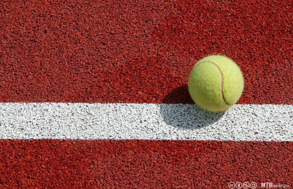 Tennisball som lander på linjen. Foto.