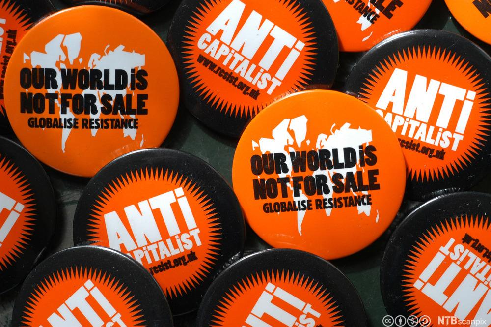 Anti-globalisation buttons