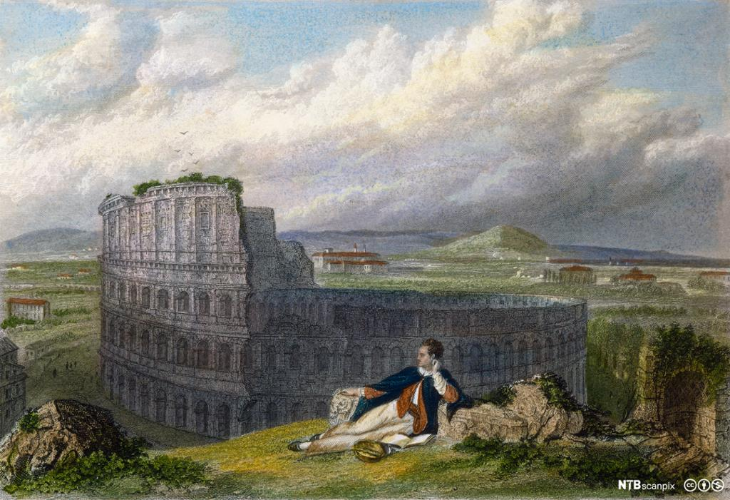 Lord George Byron sitter tankefull foran Colosseum i Roma. Illustrasjon