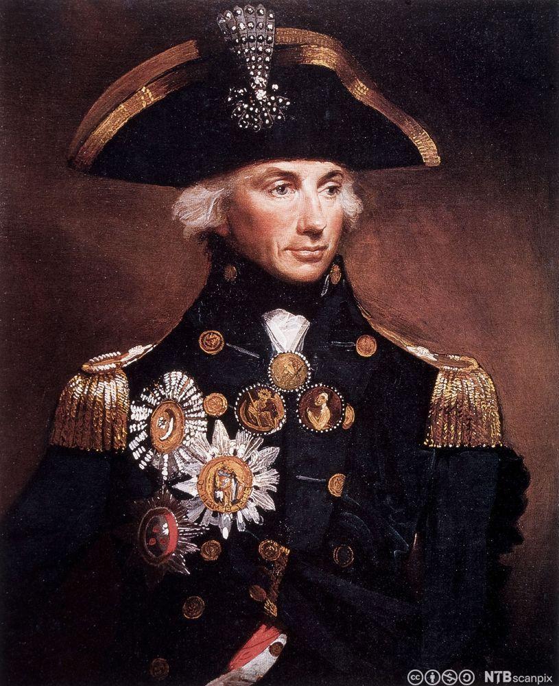 Portrett av admiral lord Nelson. Maleri.