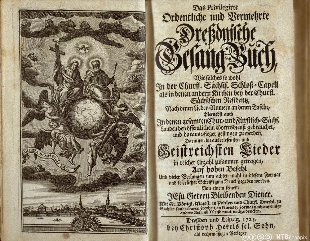 Tittelbladet til tysk sangbok fra 1725. Faksimile.