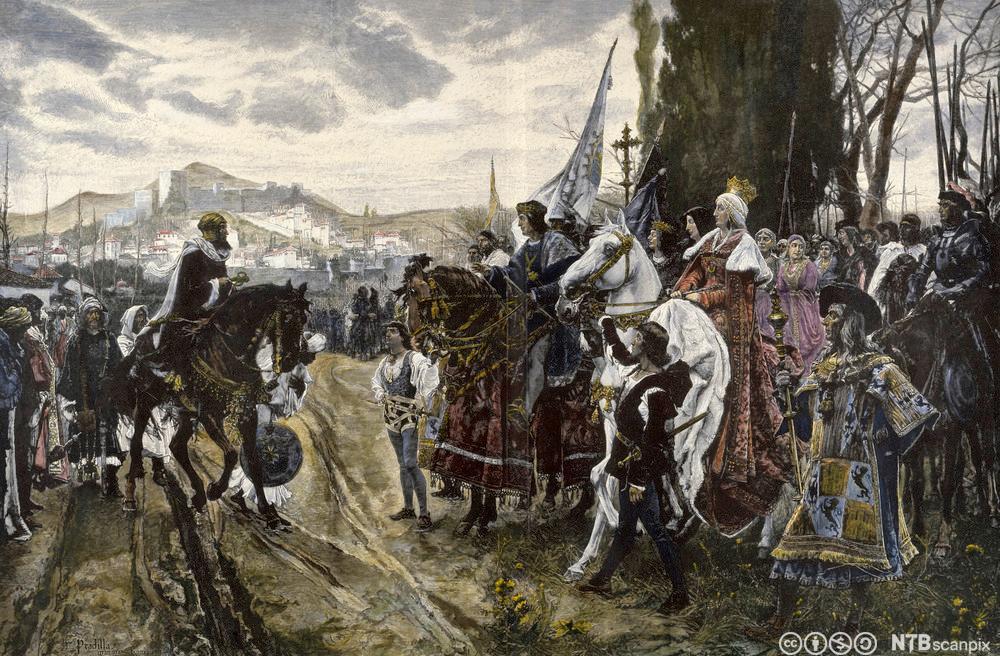 Illustrasjon av Granadas fall, med Dronning Isabella sentralt i bildet