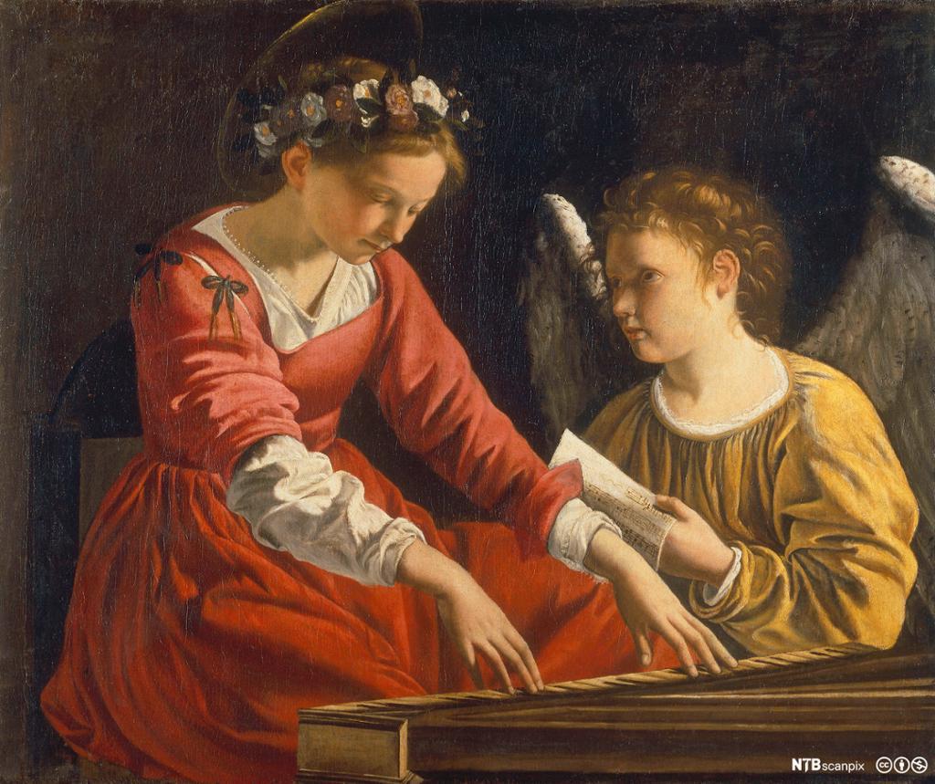 Maleri av St. Cecilie sammen med en engel. Foto.