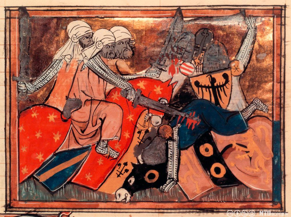 Muslimske og kristne riddarar i kamp. Bokilluminasjon.