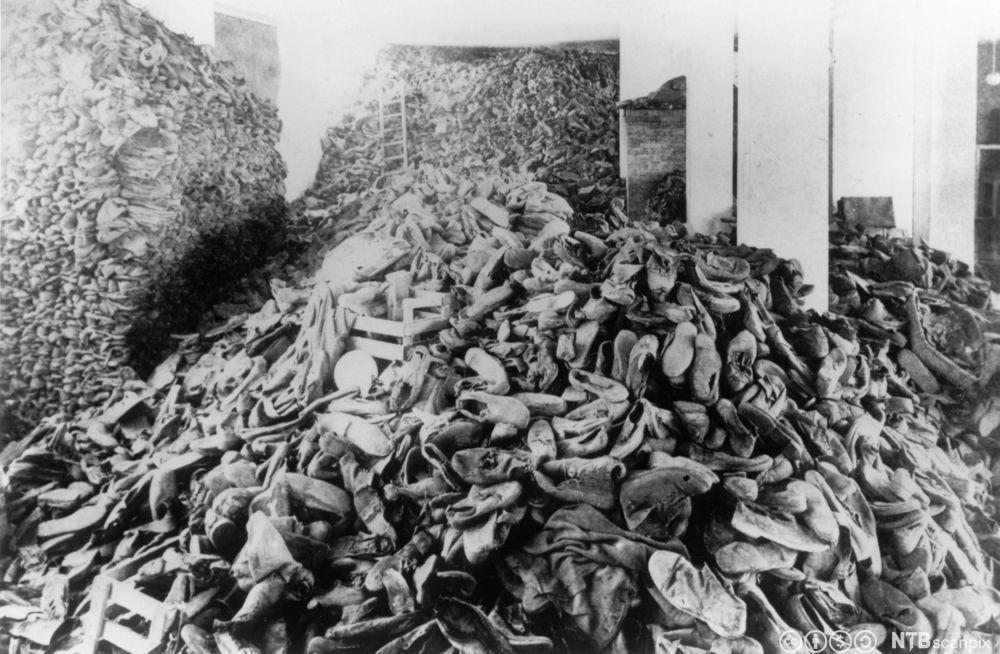 Hauger med sko samlet i Auschwitz etter de som ble drept i dødsleiren. Foto.