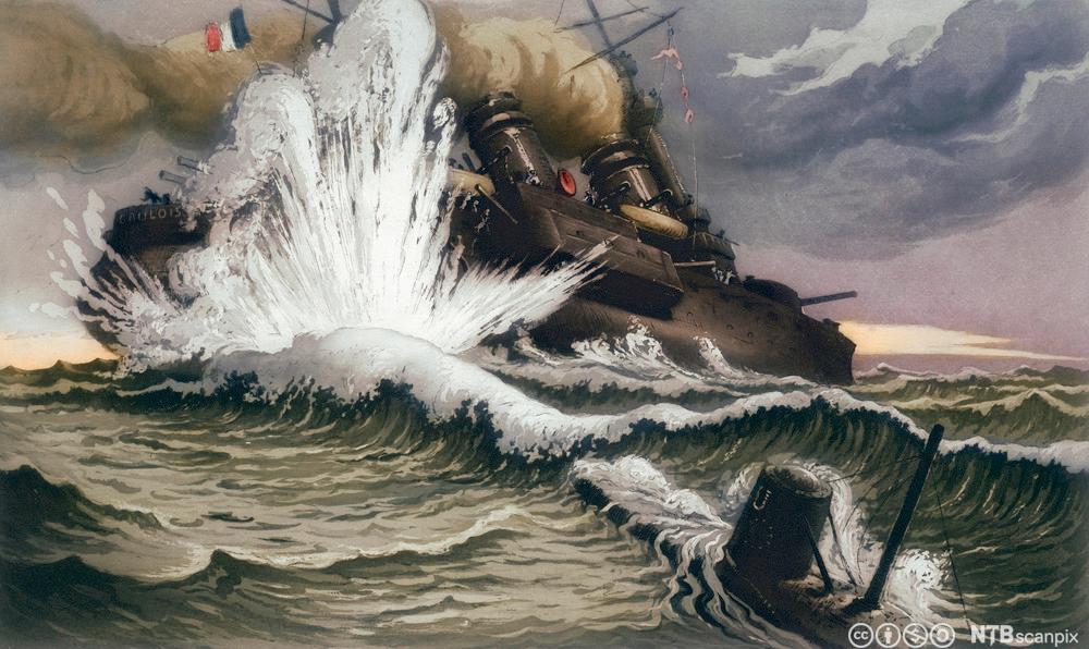 Skip som blir torpedert av ubåt
