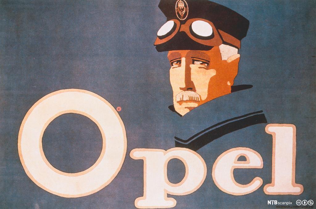 Retro reklameplakat for Opel. Foto.
