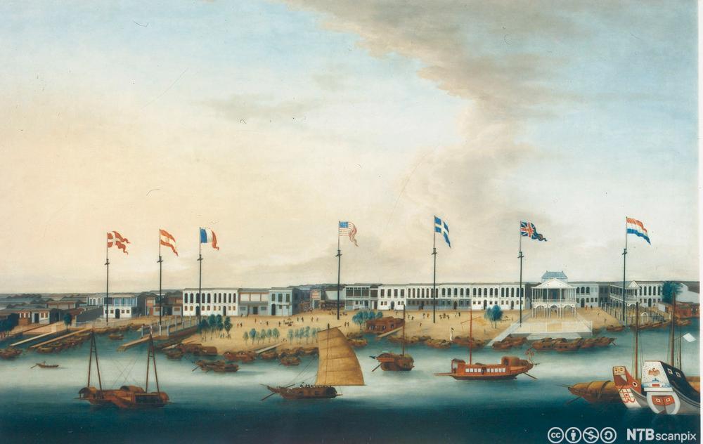 maleri europeisk handel i Kina