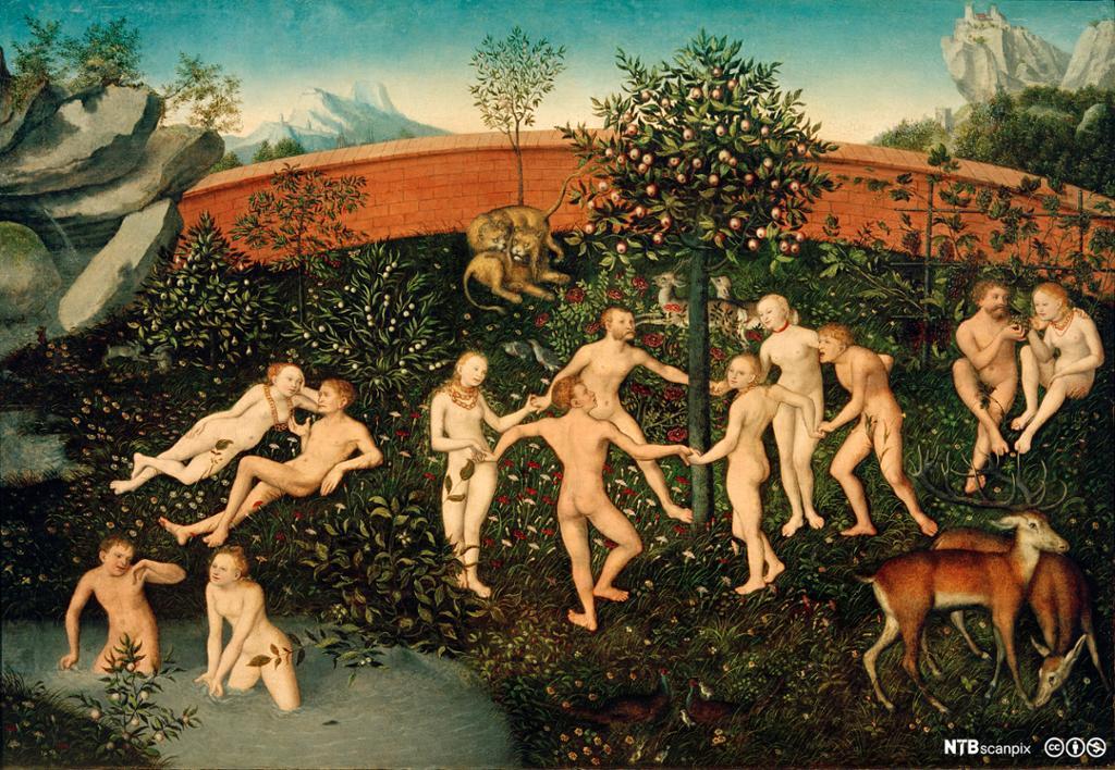 Nakne mennesker leker, danser og hygger seg i en hage omgitt av dyr. Maleri.