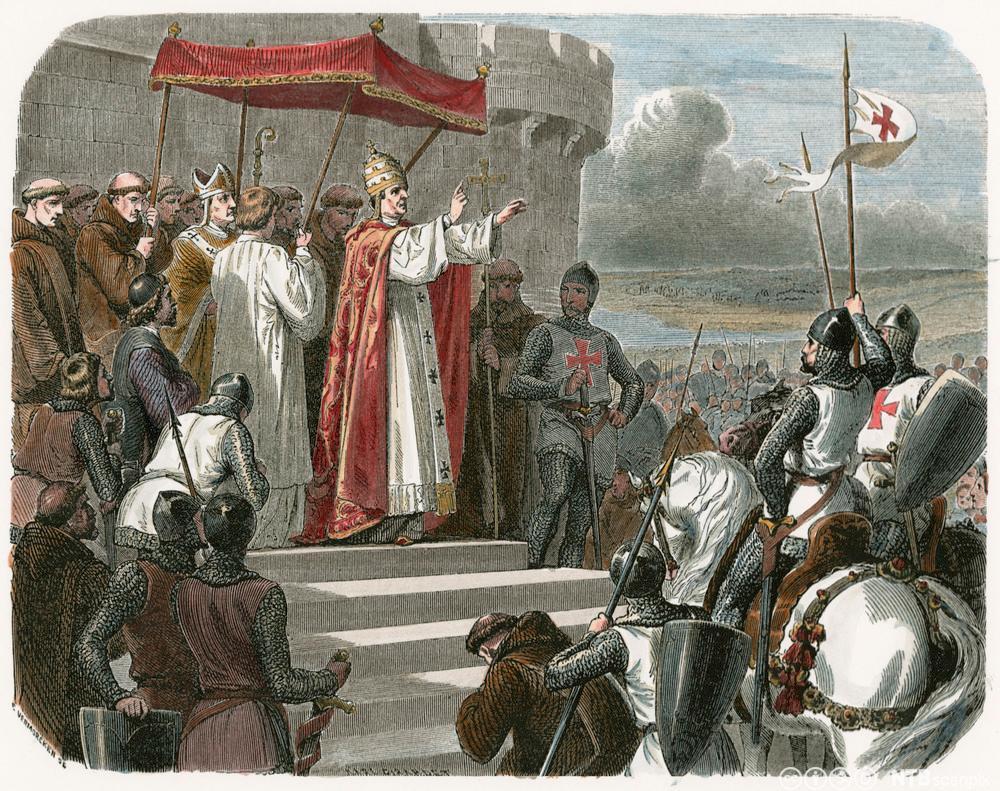Pave Urban 2 som oppfordrer til det første korstoget i 1095. Tresnitt.