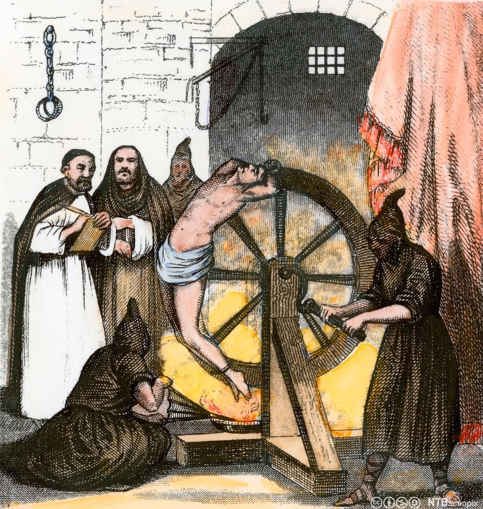 Tortur mot en kjetter under den spanske inkvisisjonen. Illustrasjon.