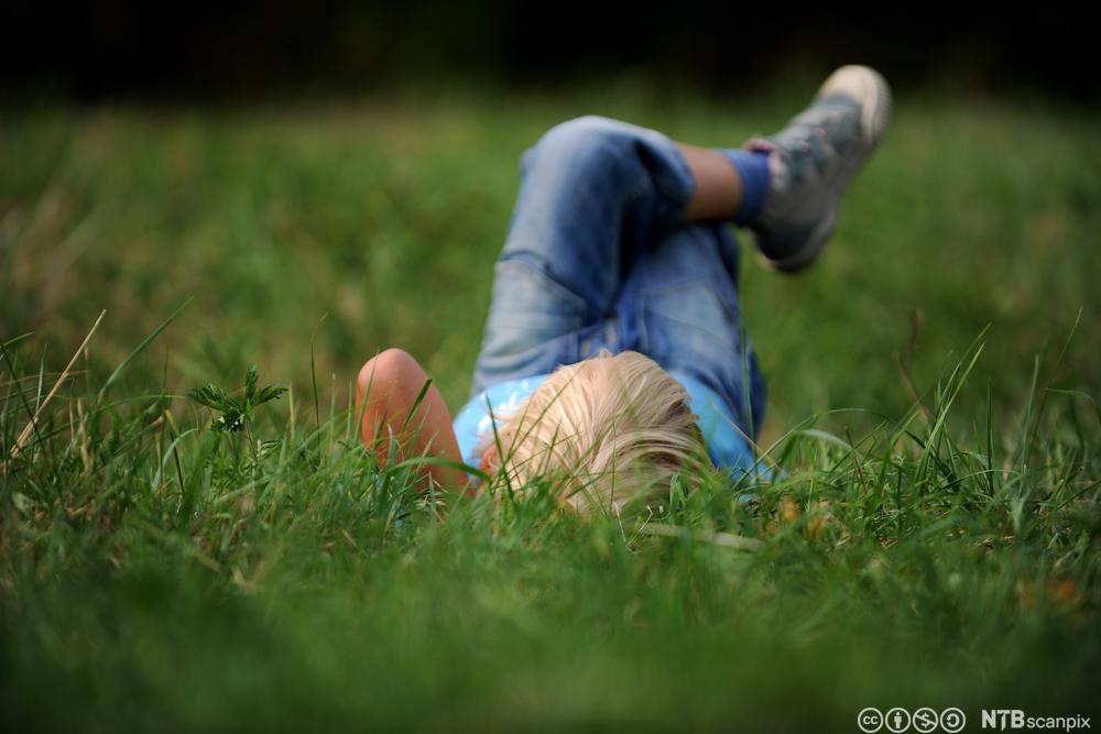 Gutt ligger i gresset og tenker. Foto