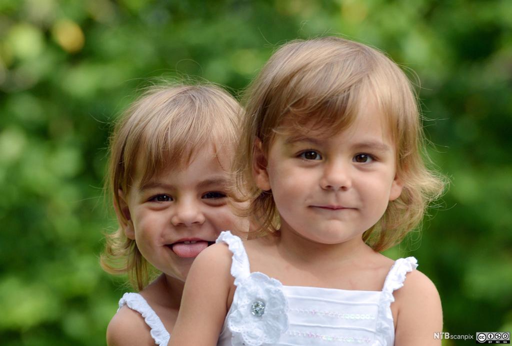 To eneggede tvillingjenter med kjoler og lyst hår. Foto.