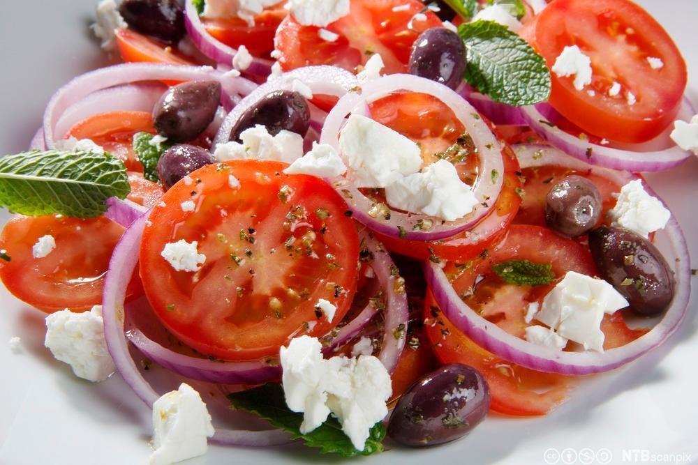 Gresk salat. Foto.