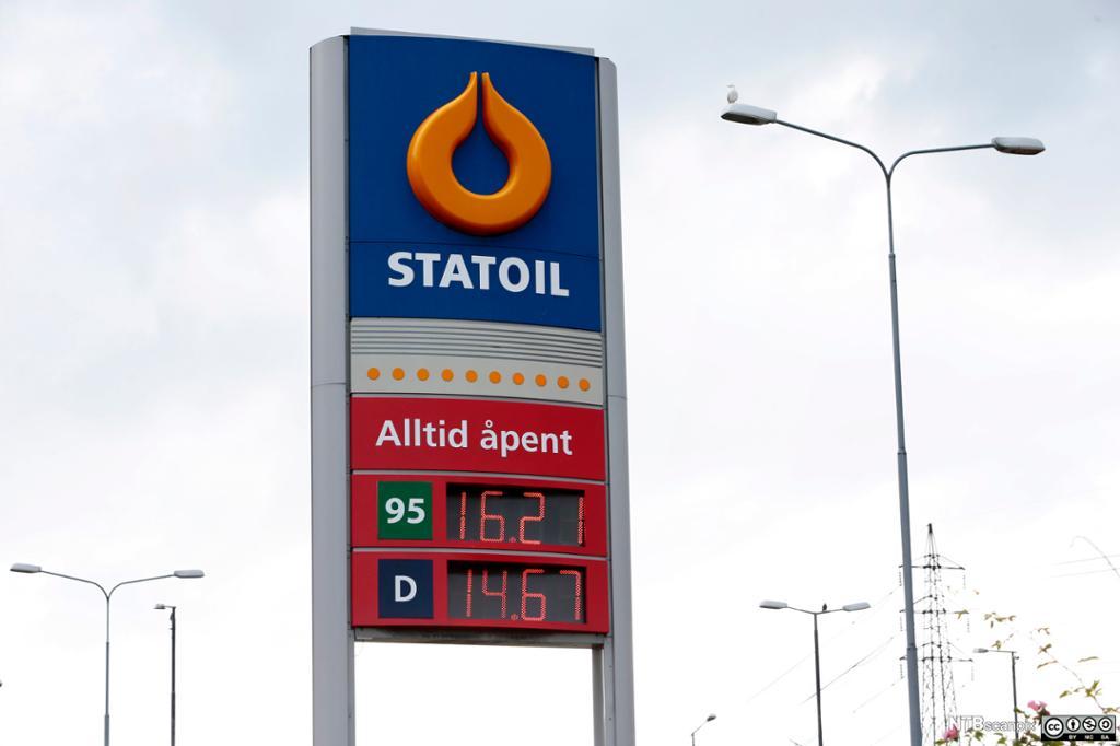 Bilde av et skilt på Statoil med priser på bensin og diesel.