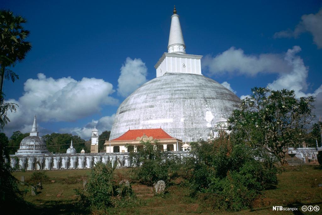 Hvitt, kuppelformet bygg med tårn på toppen. Foto.