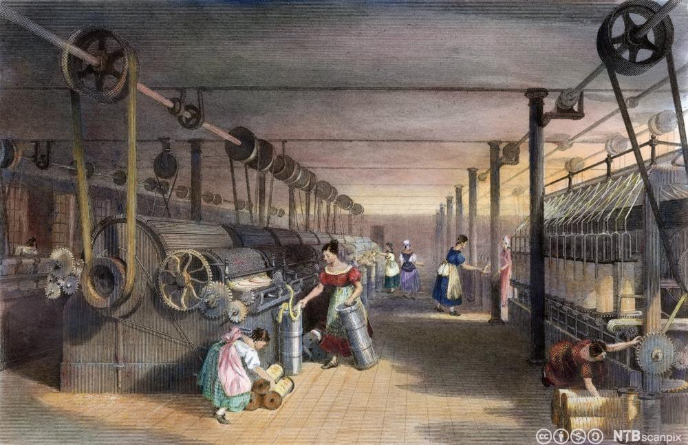 Bomullsfabrikk i England, 1834. Trykk.