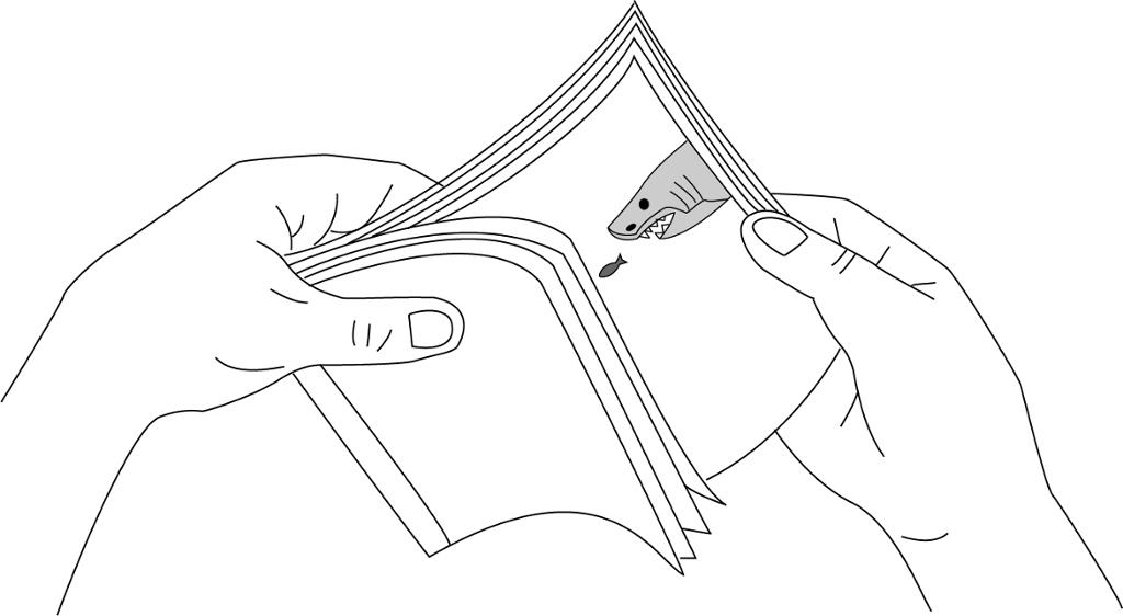 Hender som flipper en flippbok. Illustrasjon.