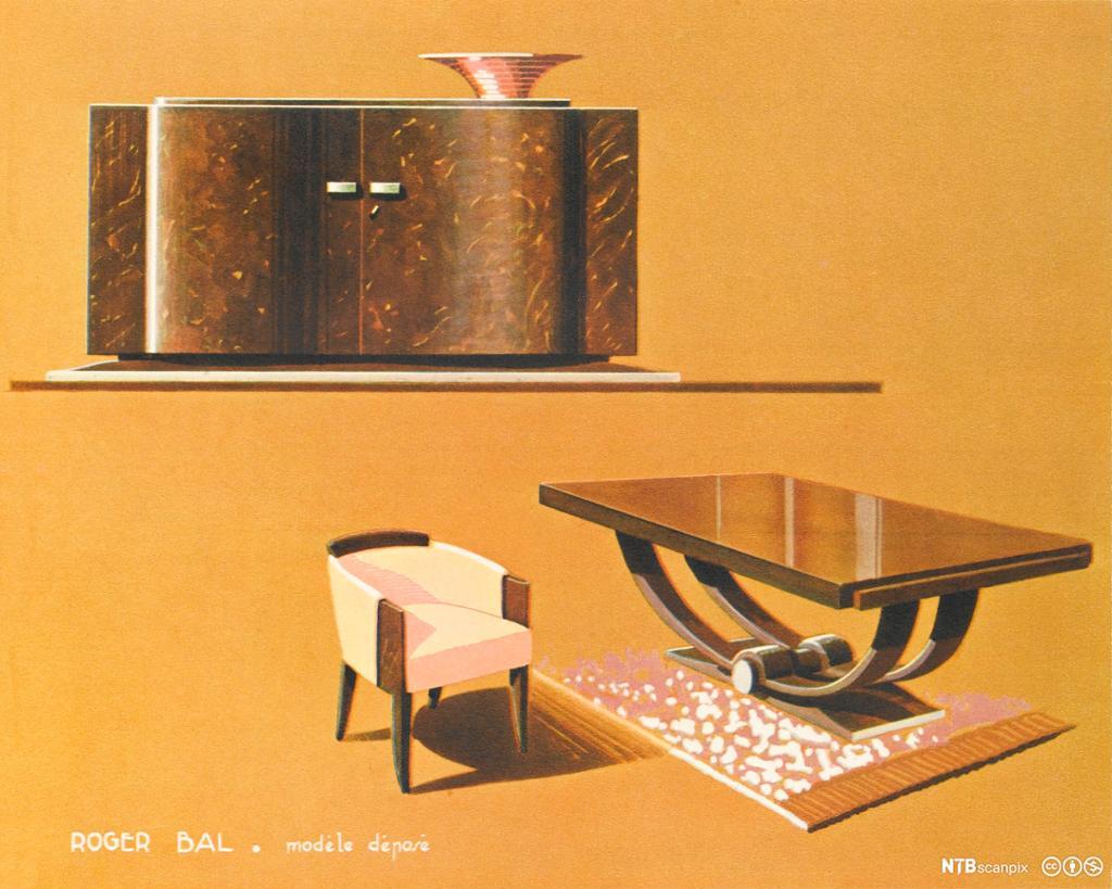 Stol, bord og skåp i art deco-utforming. Illustrasjon.