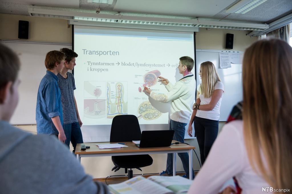 Elever holder presentasjon for klassen. Foto.