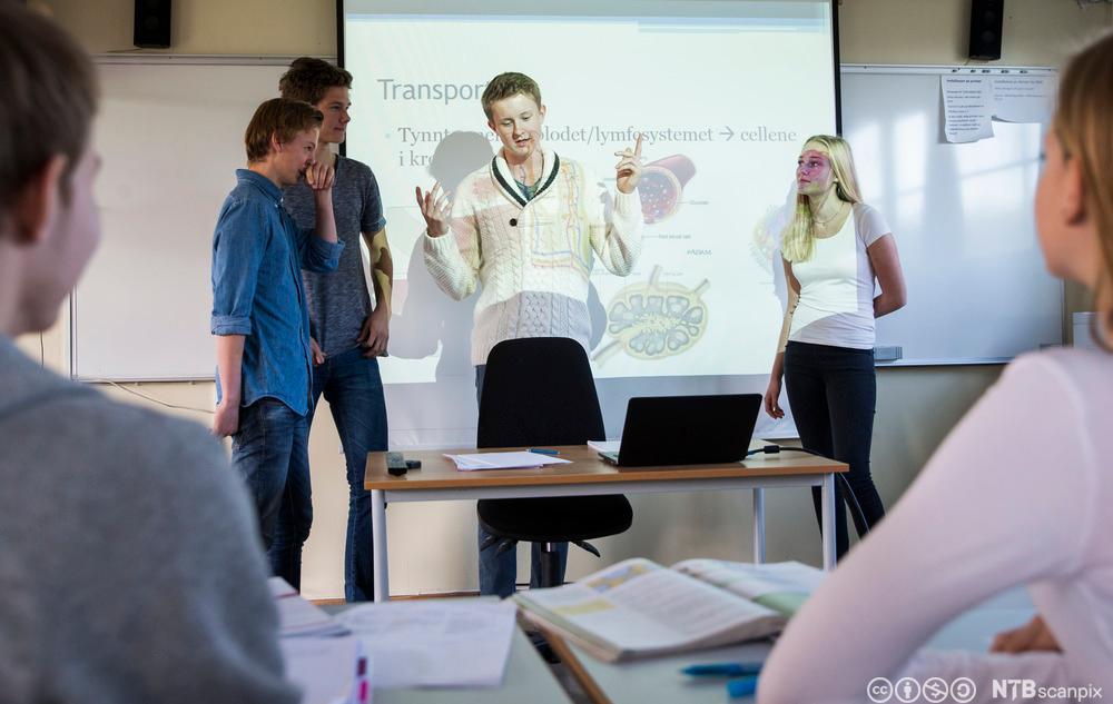 Elever presenterer gruppearbeid i klassserom. Foto.