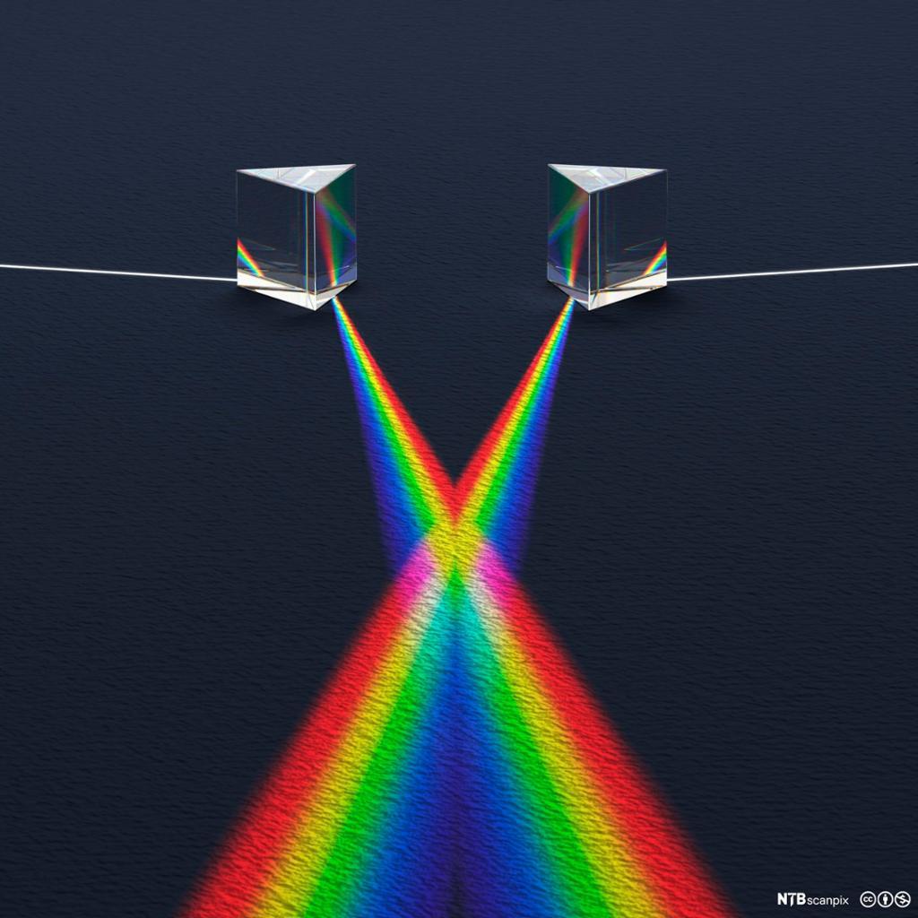 Lysspekter fra to prismer krysser hverandre. Illustrasjon.