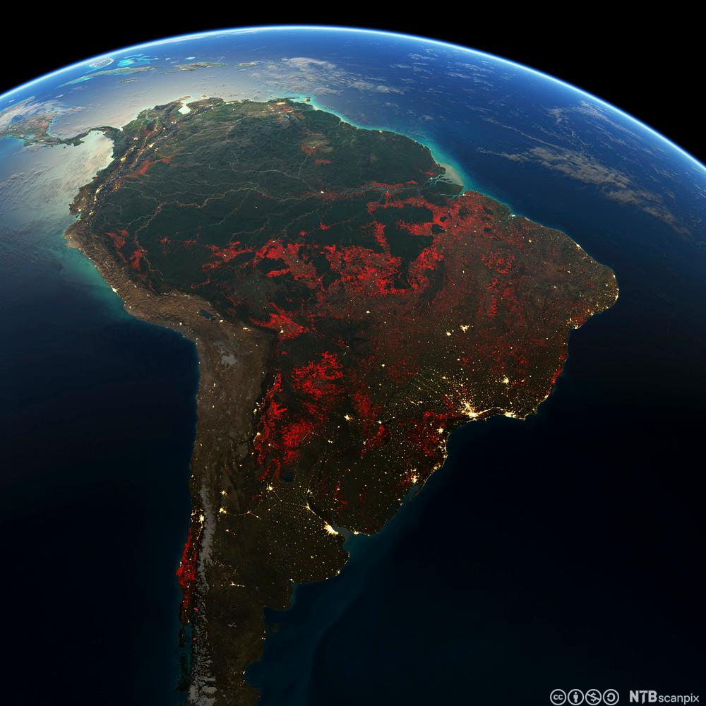 Sør-Amerika. Satelittfoto